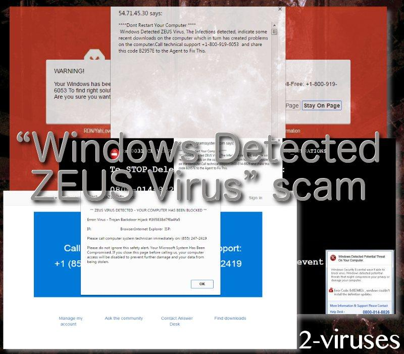 """Windows Detected ZEUS Virus""-Schwindel"