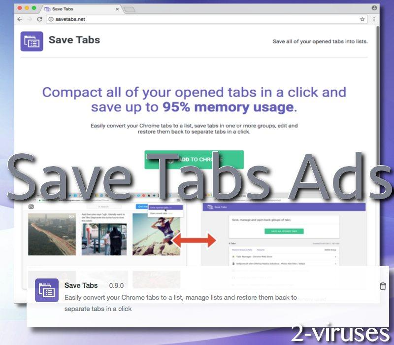Save Tabs adware virus