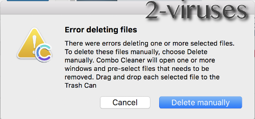 Combo Cleaner Error Deleting files