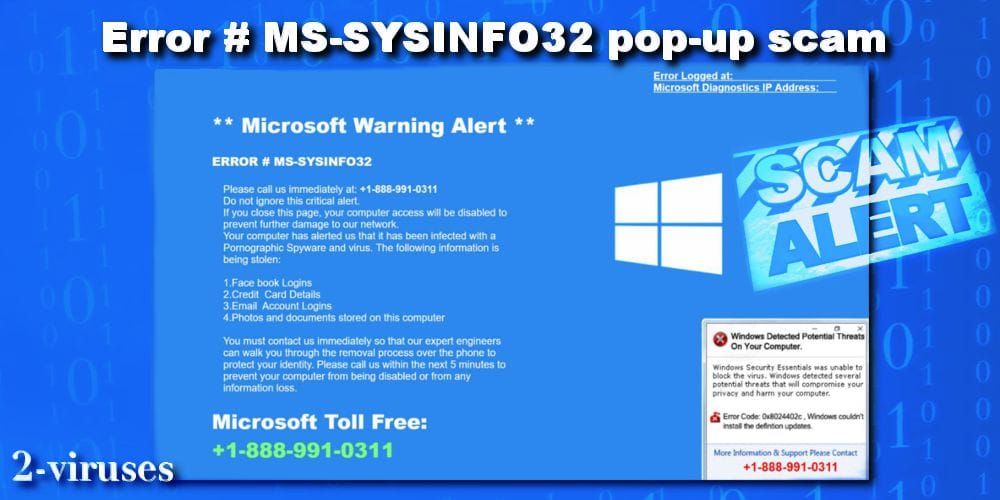 ERROR # MS-SYSINFO32 pop-up virus