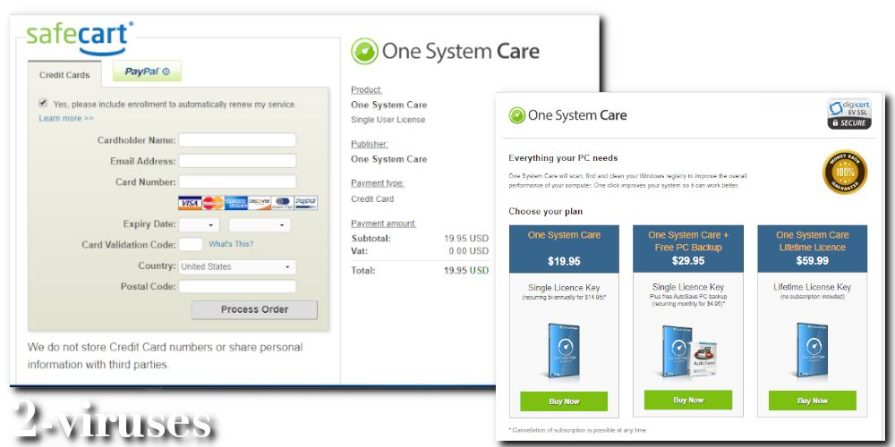 OneSystemCare PUP payment site for the full version