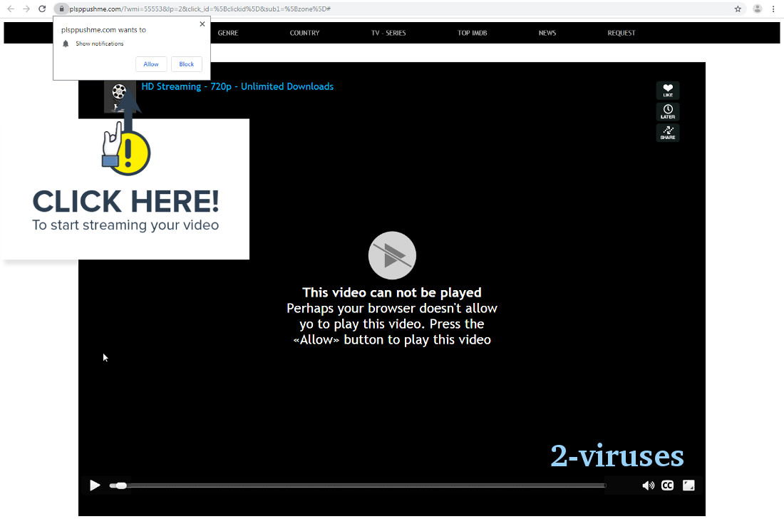 Plsppushme.com video playback spoof screenshot
