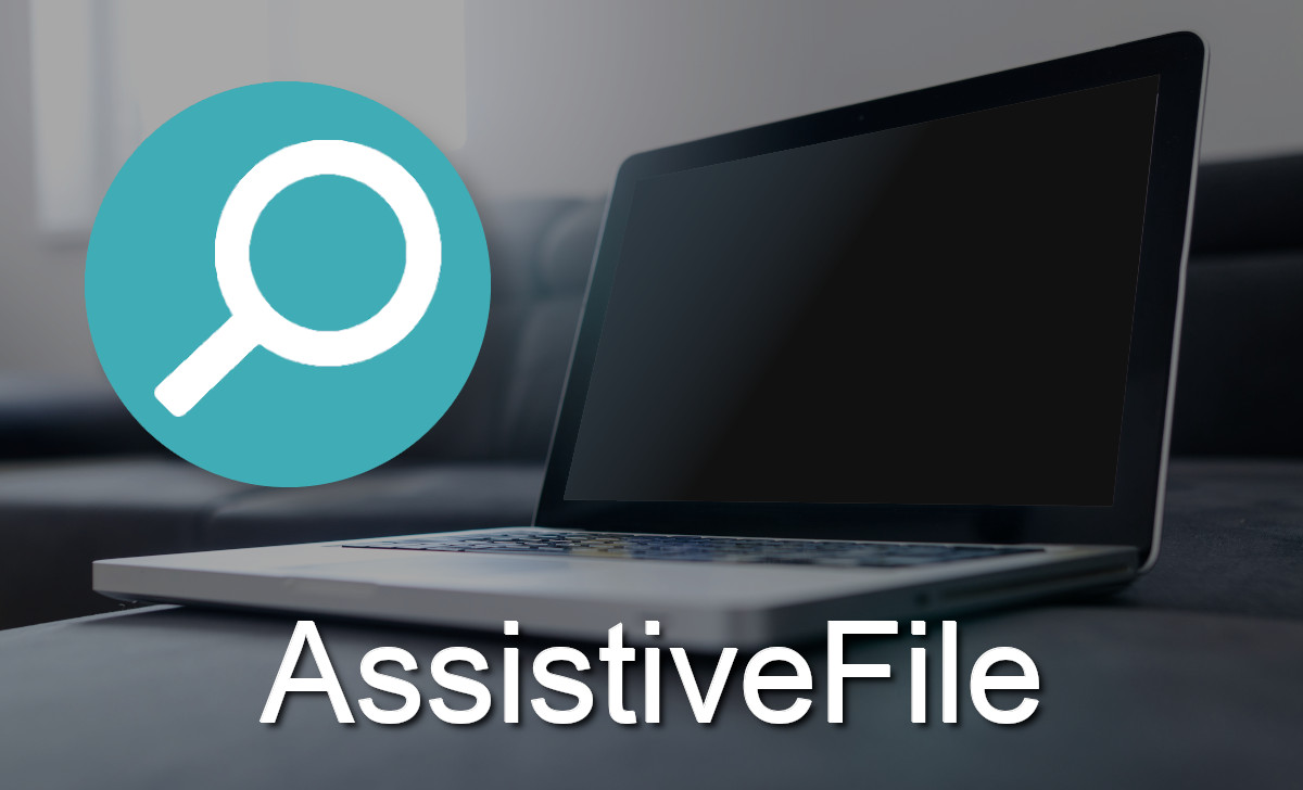 The icon of AssistiveFile is a blue/green circle with a white magnifying glass.
