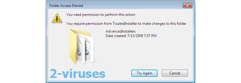 Warning that you need TrustedInstaller to delete a file